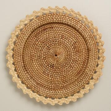 Natural Fancy Rattan Chargers, Set of 4
