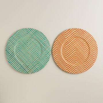 Chevron Pandan Chargers, Set of 2
