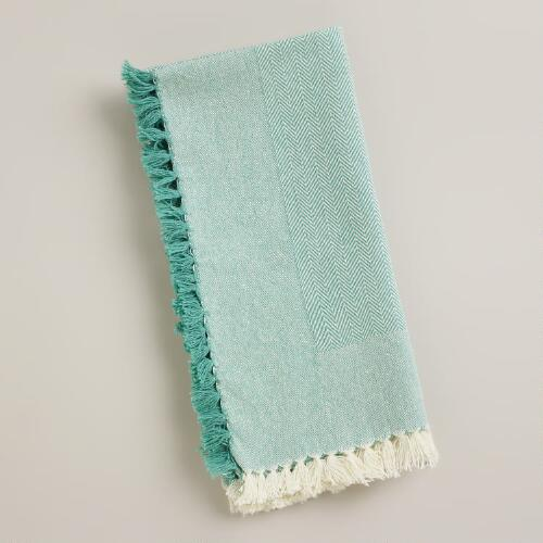 Natural/Aqua Herringbone Napkin, Set of 4