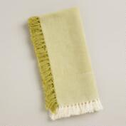 Natural/Green Herringbone Napkin, Set of 4