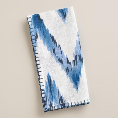 Blue Chevron Ikat Napkins, Set of 4