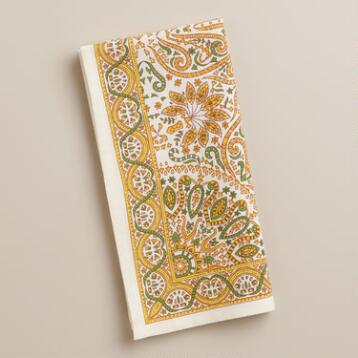Yellow Dhaya Napkins, Set of 4