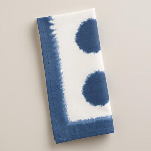 Indigo Oversized Dot Napkins, Set of 4
