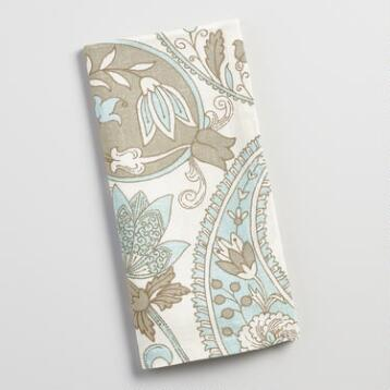 Blue Floral Paisley Napkins, Set of 4