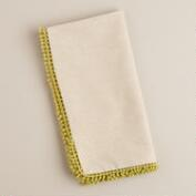 Green Chambray Crochet Napkins, Set of 4