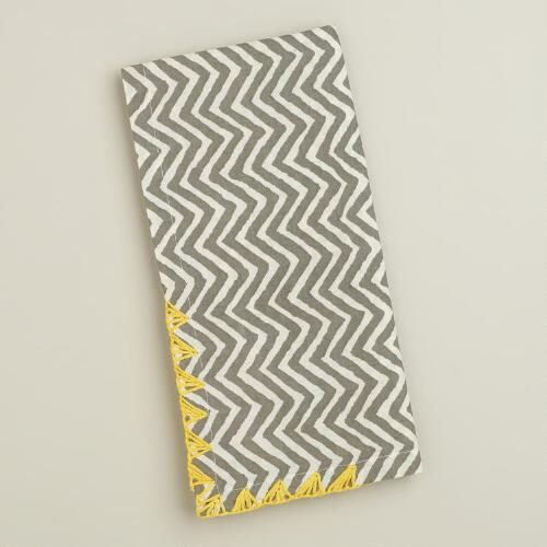Gray with Yellow Trim Chevron Napkins, Set of 4