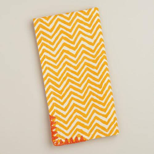 Yellow with Koi Trim Chevron Napkins