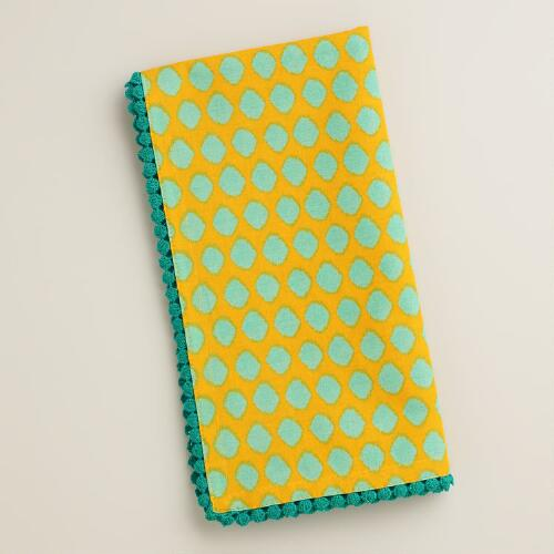 Yellow, Aqua and Baltic Ikat Dot Napkins, Set of 4