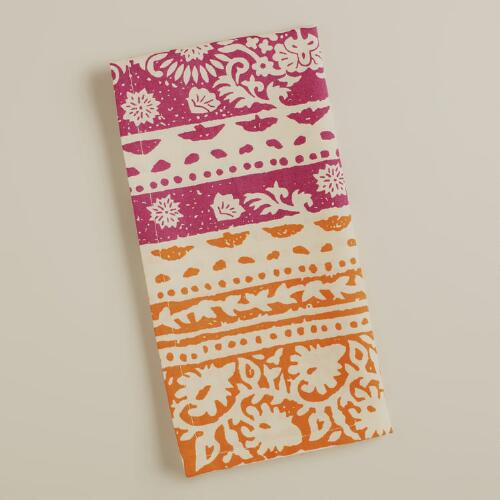 Fuchsia and Koi Bantai Block Print Napkins, Set of 2
