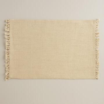 Ivory Herringbone Placemats, Set of 4