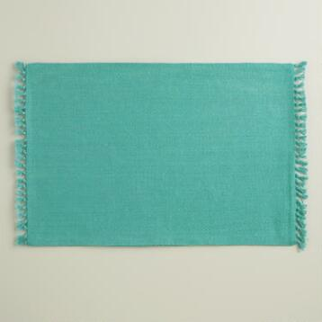Aqua Herringbone Placemats, Set of 4
