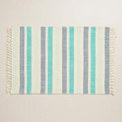 Cool Aqua Multicolor Herringbone Placemats, Set of 4