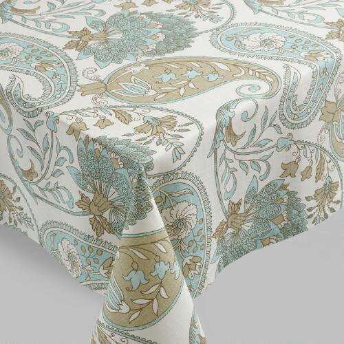 Blue Floral Paisley Tablecloth