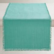 Oversized Aqua Herringbone Table Runner