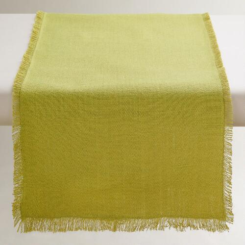 Oversized Green Herringbone Table Runner