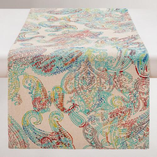 Multicolor Paisley Chambray Table Runner