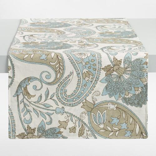 Blue Floral Paisley Table Runner