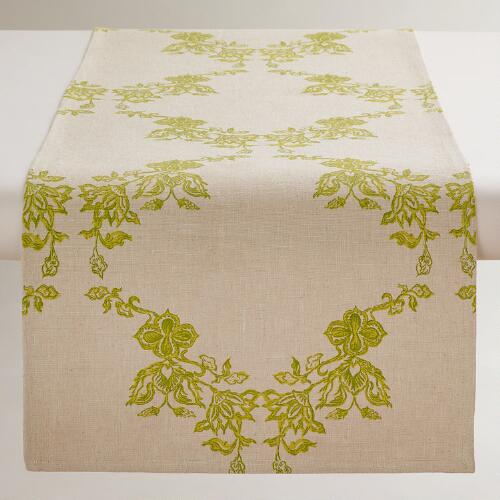 Green Spring Trellis Table Runner