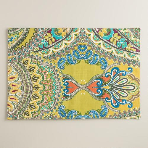 Green Venice Paisley Placemats, Set of 4