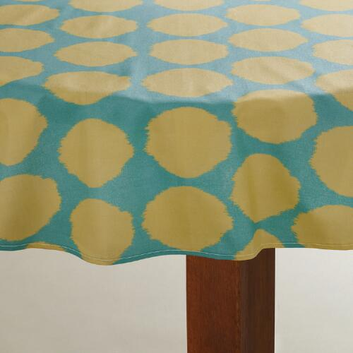 Ikat Dot Round Oilcloth Tablecloth
