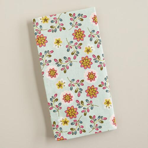 Dusty Aqua Floral Easter Napkins, Set of 4