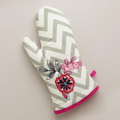 Flower Chevron Oven Mitt