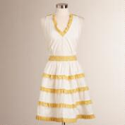 Yellow and White Ruffle Apron