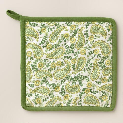Green Paisley Potholder
