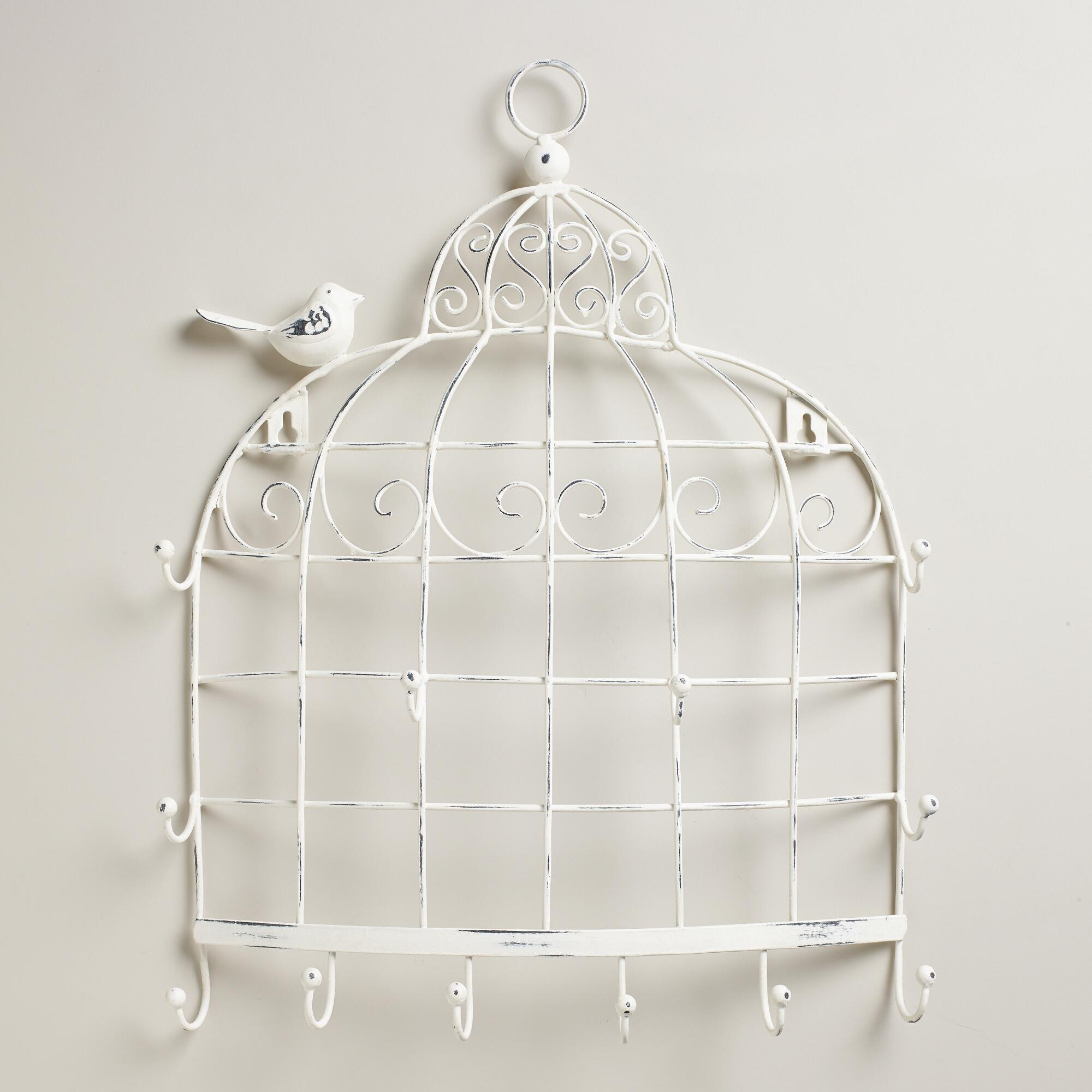 whitewash birdcage wall jewelry holder world market