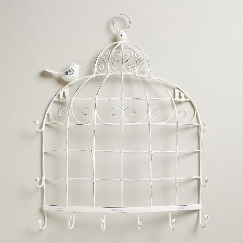 Whitewash Birdcage Wall Jewelry Holder