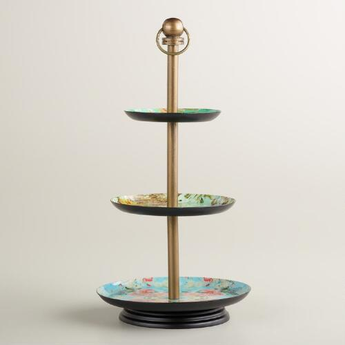 Victorian Enameled 3-Tier Jewelry Stand
