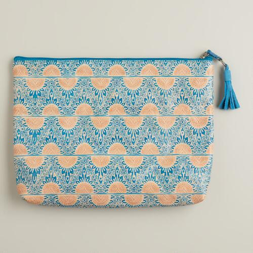 Blue Embossed Leather Clutch