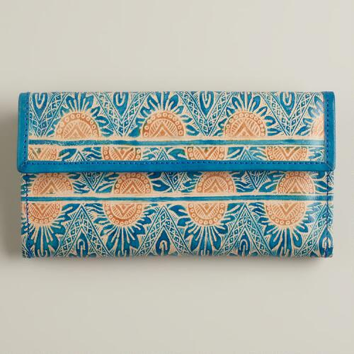 Blue Embossed Leather Wallet