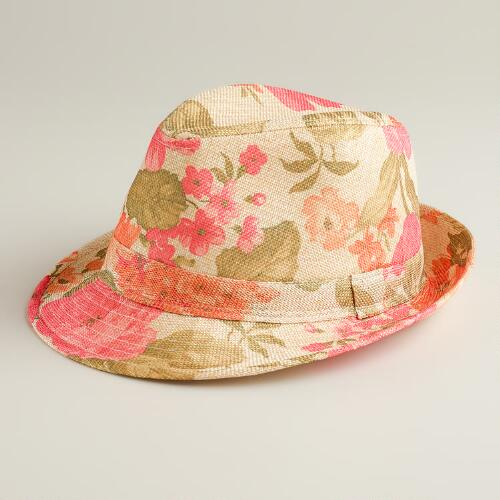 Hot Pink Floral Fedora Hat