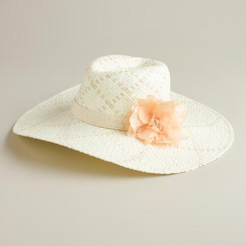 Ivory and Peach Flower Sunhat