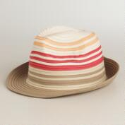 Tan and Coral Ribbon Fedora Hat