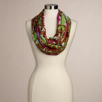 Purple and Green Ikat Infinity Scarf