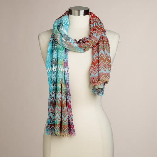Multicolor Ruched Woven Scarf