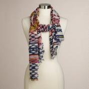 Multicolor Ikat Neon Embroidered Scarf