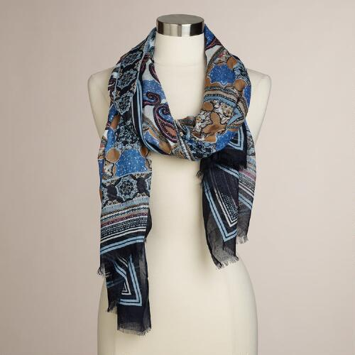 Navy and Pink Paisley Oversized Scarf