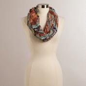 Gray and Coral Ratan Tribal Scarf