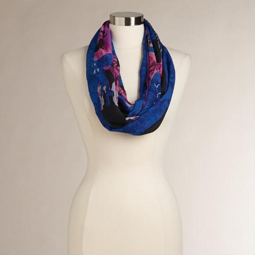 Cobalt Blue and Pink Abstract Infinity Scarf