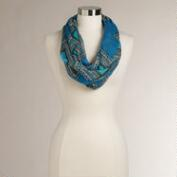 Blue and Turquoise Graphic Infinity Scarf
