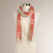 Orange Puckered Cotton Scarf