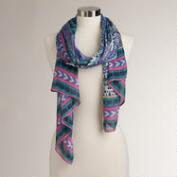 Blue and Pink Ikat Patchwork Scarf
