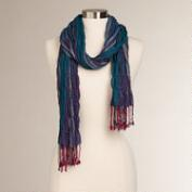Teal and Fuchsia Woven Scarf