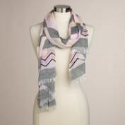Gray and Pink Stripe Embroidered Scarf