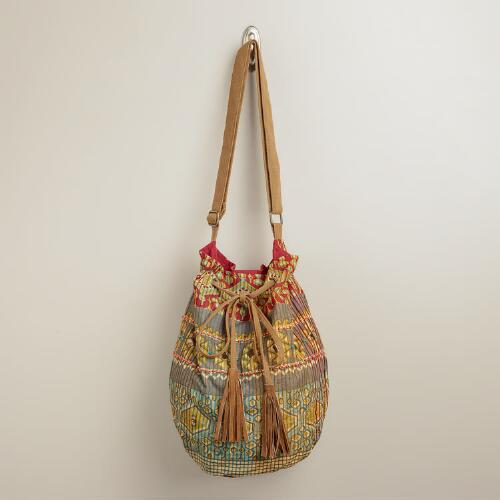 Tribal Suede Bucket Bag