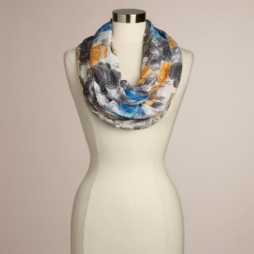 Blue and Yellow Floral Infinity Scarf