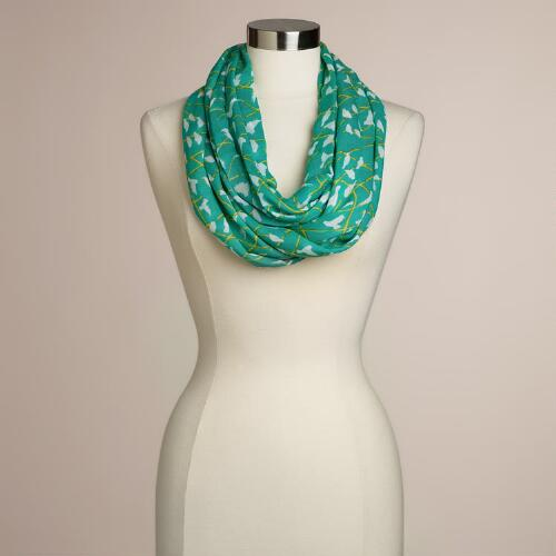 Green Flying Birds Infinity Scarf